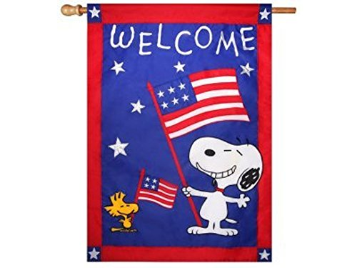 PEANUTS SNOOPY WELCOME PATRIOTIC FLAG~28