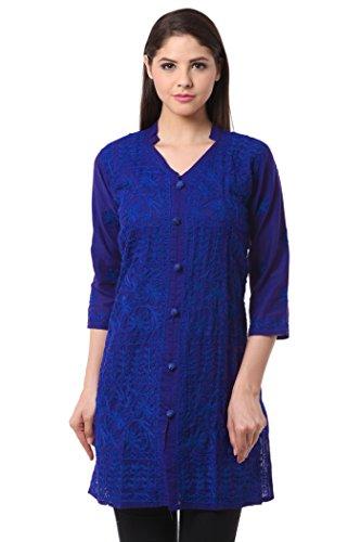 Saadgi Women's Open Button Styled Knee-Length Kurti Kurta. Large Navy (Large Blue Kurta)