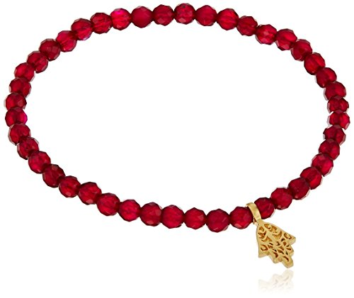 Satya Jewelry 4mm Fuchsia Agate Gold Plated Hamsa Stretch Bracelet