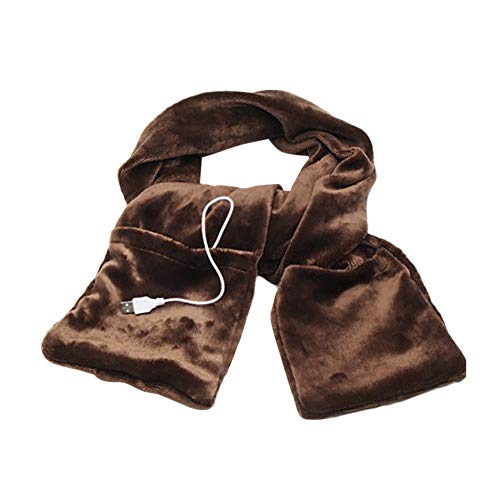 Price comparison product image Haluoo Unisex Women Men USB Heated Scarf Neckwarmer with Zipper Pocket Gloves Scarves Winter Warm Electric Heating Shawl Wrap for Traveling Camping Hiking Outdoor (Coffee)