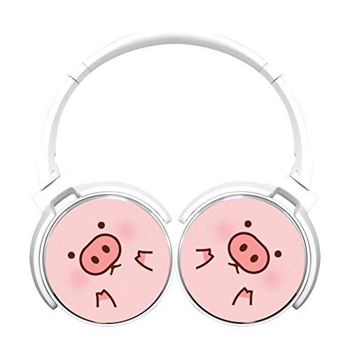 Cartoon Pink Pig Wireless Bluetooth Computer Gaming On-Ear Earphones Adjustable Hi-Fi Headphones Foldable Sound Proof Headset Best Gift for Teens Adults -