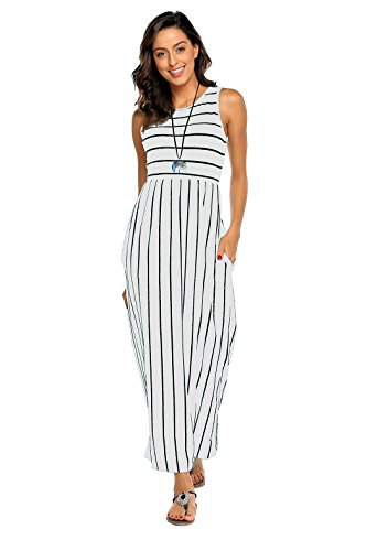 Hount Women's Summer Sleeveless Striped Cotton Sexy Long Maxi Dress with Pockets (White, Small)
