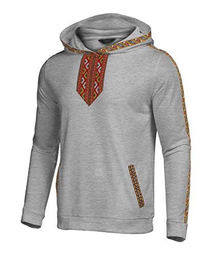 COOFANDY Men's African Hoodies Sweatshirt Tribal Embroidery Fashion Dashiki Hooded Pullover Gray