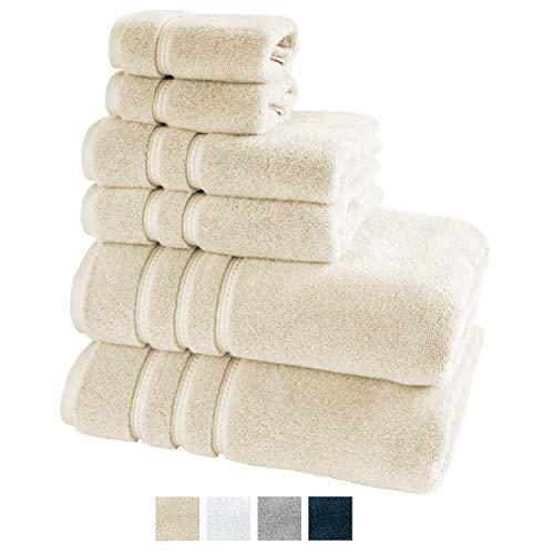 TRIDENT Large Bath Towels, 100% Cotton Zero Twist Towels 6 Piece Set -2 Bath, 2 Hand, 2 Washcloths, Softer Than a Cloud, Premium, Absorbent, Luxury Hotel Collection (Linen)