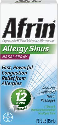 Afrin Nasal Spray 12 Hour Relief, Allergy Sinus, 0.5 fl oz (Pack of 6) by Afrin