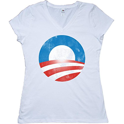 Inktastic - Obama Logo (Vintage Look) Junior V-Neck T-Shirt Large White