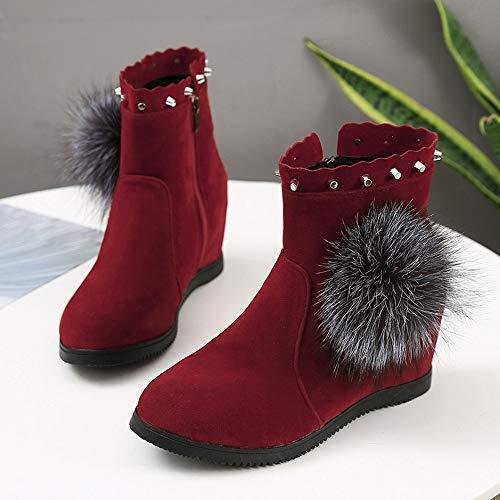 Femmes Boules Poil Couleur Chaudes Dames Rouge Des Daim Chaussures Kobay Bottes Gardent Rond De Sexy Fermeture En Glissire Compenses Bout Pour Pure Egxq0qtzw6