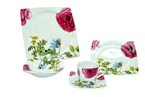 Pink Rose Fine Porcelain - Pink Rose Fine Porcelain Squared 20-Piece Dinnerware Gift Set Service for 4