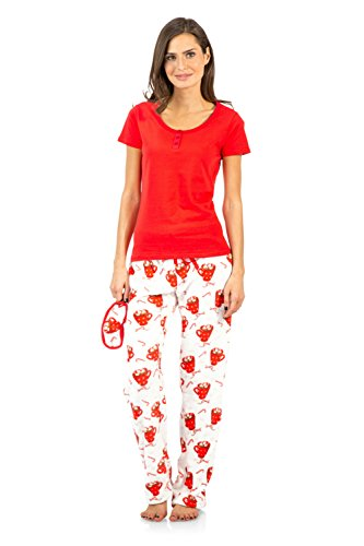 Ivory Lounge Set - Ashford & Brooks Women's Short Sleeve Cotton Top Fleece Pants Pajama Set - Red/Ivory - X-Large