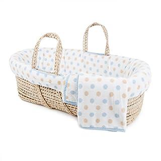 Tadpoles Polka Dot Plush Fleece Moses Basket and Bedding Set, Blue