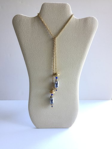 White, Blue, and Gold Delft-Like Lariat/Necklace. One of a kind