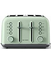 BUYDEEM DT-6B83 4-Slice Toaster, Extra Wide Slots, Retro Stainless Steel with High Lift Lever, Bagel and Muffin Function, Removal Crumb Tray, 7-Shade Settings (Cozy Greenish, 4-Slice)