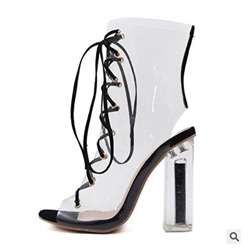Black punta Chunky outdoor tallone pu nero donna ZHZNVX Scarpe Comfort estivo casual per sandali chiusa 8xY6waq