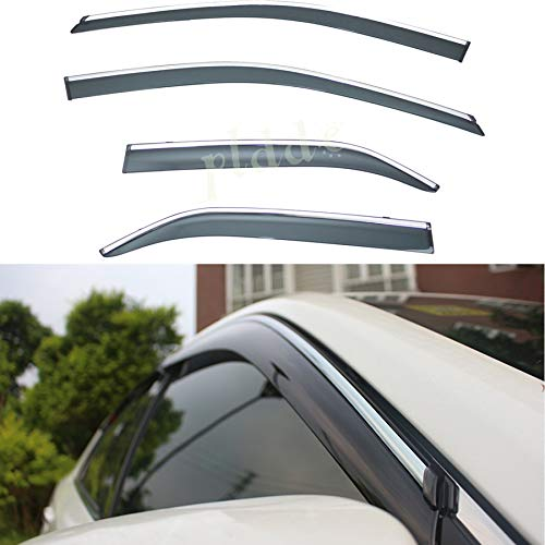 - PLDDE 4pcs Smoke Tint With Chrome Trim Outside Mount Tape On/Clip On Style PVC Sun Rain Guard Window Visors Fit 15-17 Toyota Camry