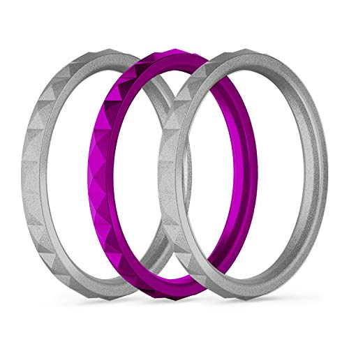 - 25Twelve Womens Silicone Wedding Ring - Sets Vibrant Colors Fun to Mix Match Rubber Wedding Bands Women, 2 Silver Maple 1Wild Violet, sz6