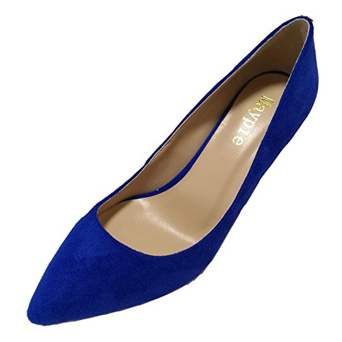 MAYPIE Women's Classic Closed Pointed Toe Blue Suede Dress Pumps Shoes 3 inches Mid Heels (5 (Buy Blue Suede Shoes)
