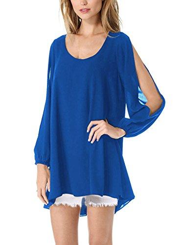 Round One Blue Dress Loose Sleeve Women's Bracelet Royal Trapeze piece K Neck Allegra ngw0W7Eqx