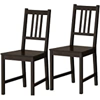 Set of 2 Ikea Stefan Chairs Black Brown Solid Wood