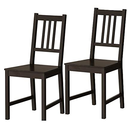 Set Of 2 Ikea Stefan Chairs Black Brown Solid Wood