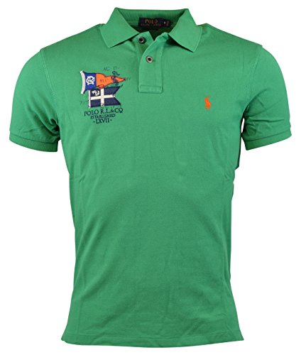 Polo Ralph Lauren Men's Nautical Flags Custom Fit Cotton Mesh Polo Shirt (Medium, Victory - Lauren Green Ralph Polo