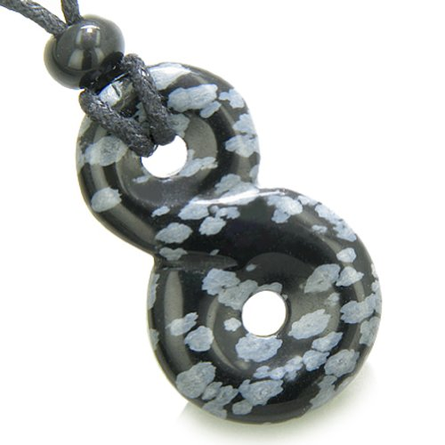 Snowflake Obsidian Pendant - Infinity Magic Powers Knot Lucky Charm Amulet Snowflake Obsidian Pendant Necklace