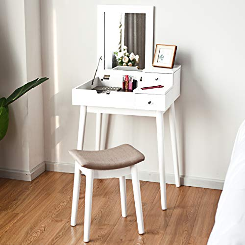 (Giantex Vanity Table Set with Mirror Stool, Folding Top Flip Mirrored Large Storage Organizer for Home Bedroom Chic Furniture Wood Cushioned Bench, Makeup Dressing Table Sets w/ 2 Drawers,White)