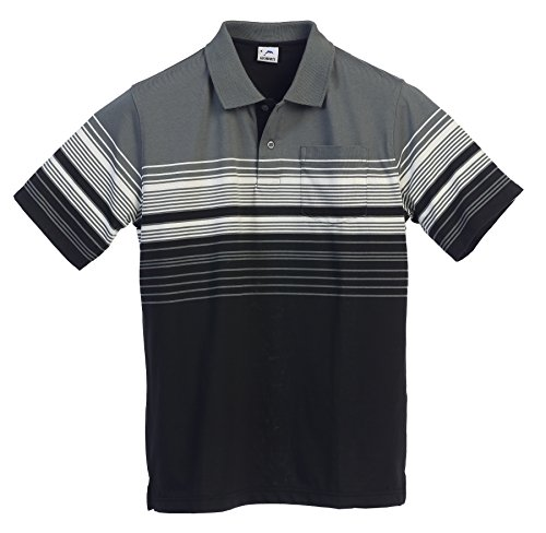Cotton Striped Shirt (Gioberti Mens Modern Fit Striped Polo Shirt With Pocket, Charcoal A, X-Large)