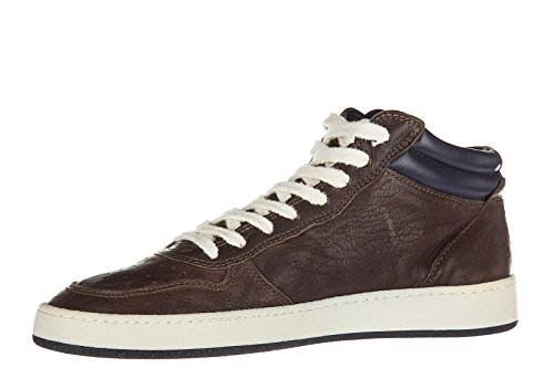 Philippe Model chaussures baskets sneakers hautes homme en cuir lakers marron