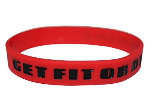 Nike Baller Bracelets Slogans (Get Fit (Red/Blk Letters)) (Nike Baller Wristband)