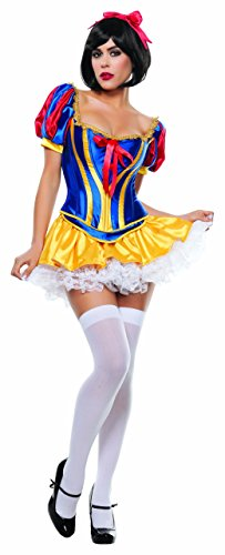 (Starline Women's Fairy Tale Snow White Sexy 3 Piece Costume Corset Set, Blue,)