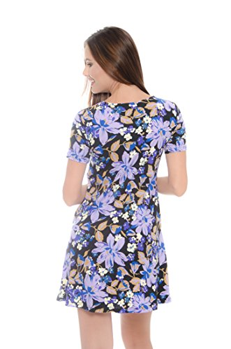 Colors 138 44 Short Sleeve Woman with Dress Casual Lilac Pockets for Black MODADEL 8zwAvdqv