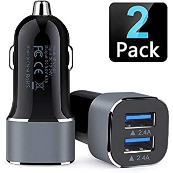 Car Charger, 2Pack AILKIN 4.8A Portable Dual Port USB Cargador Carro Lighter Adapter for iPhone, iPad, Tablet, Samsung, GPS - Black Fast Charging 12v ...
