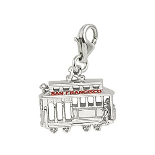 Sterling Silver San Francisco Cable Car Charm With Lobster Claw Clasp, Charms for Bracelets and Necklaces ()