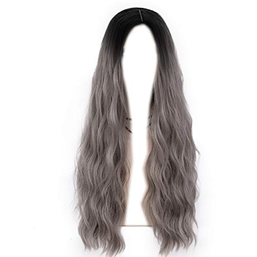 Probeauty Forest Lady Collection Dark Root Long Curly Women Lolita Anime Cosplay Wig + Wig Cap (70cm, Grey F22) -