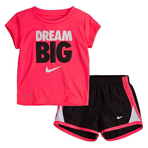 Nike Kids Girls Sets - Nike Girl's Graphic-Print T-Shirt & Shorts 2 Piece Set (Black (16D100-023) / Vivid Pink/White, 6)
