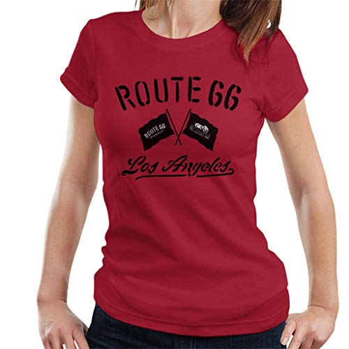 Route 66 Motorcycle Flags Los Angeles Women's T-Shirt Cherry Red (Best Bike Routes Los Angeles)