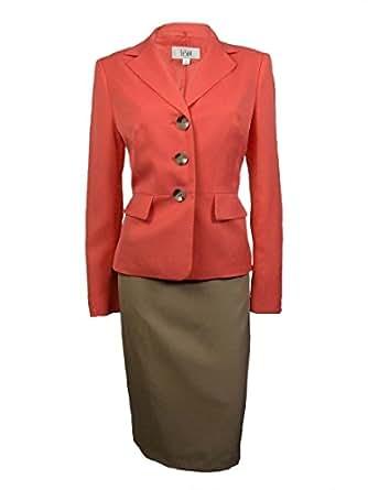 Le Suit Women's Cozumel Three Button Skirt (12P, Coral/Khaki)