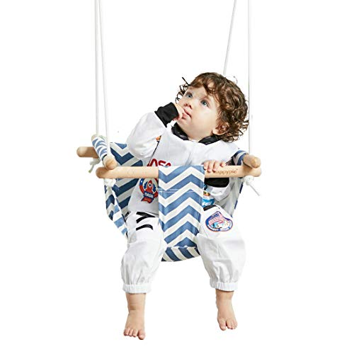 Secure Canvas Hanging Swing Seat Indoor Outdoor Hammock Toy for Toddler ()
