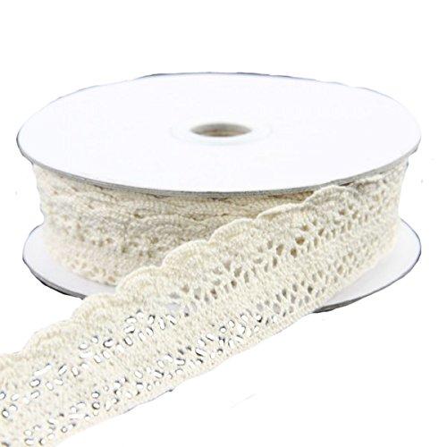 "1""x10yd Ivory Crochet Lace Ribbon"