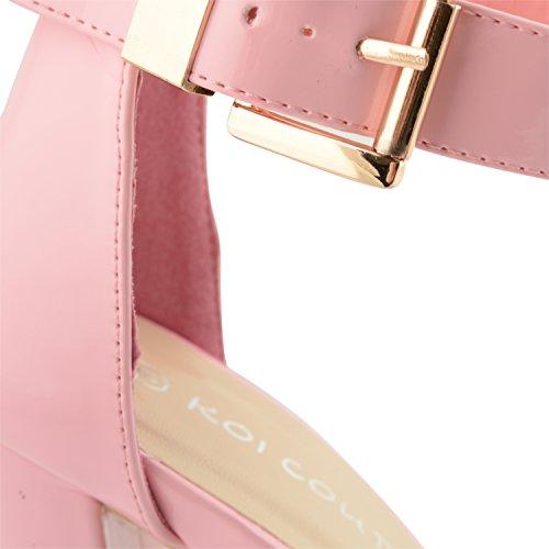 New Hebilla alto mujer Ladies fiesta tobillera zapatos Oro para Peep Glam Rosa sandalias Strappy de Plataforma noche Toe talón rqrwIBH