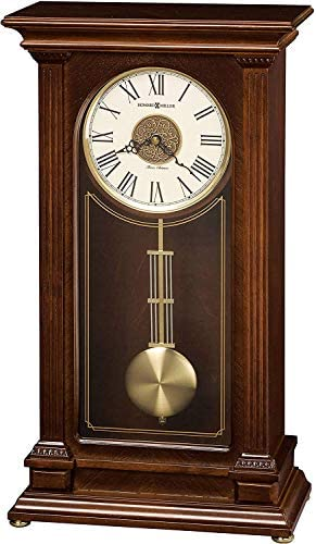 Howard Miller Stafford Mantel Clock 635-169 Cherry Wood Bordeaux with Quartz, Triple-Chime Movement
