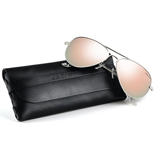GREY JACK Polarized Classic Aviator Sunglasses Military Style for Men Women Silver Frame Pink Lens ()