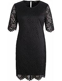 b21eb8d2e3 Women s Stretch Lined Plus Size Lace Shift Dress with Scalloped Hem and Cuff