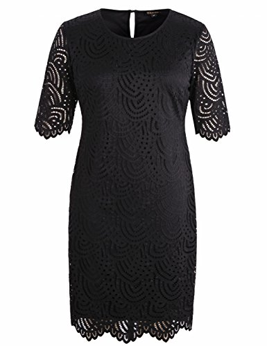 (Chicwe Women's Plus Size Stretch Lined Lace Shift Dress - Knee Length Work Casual Party Cocktail Dress Black 3X)