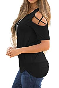 iGENJUN Women Short Sleeve Strappy Cold Shoulder T-Shirt Tops Blouses