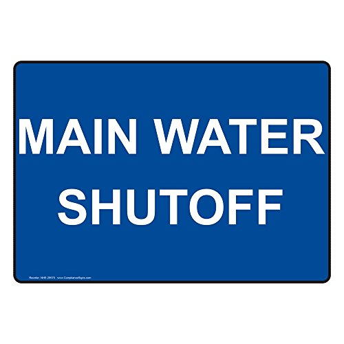 ComplianceSigns Vinyl Main Water Shutoff Labels, 5 x 3.50 in. with English Text, Blue, pack of 4 from ComplianceSigns
