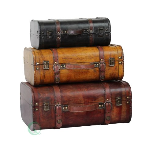 Vintiquewise(TM) 3-Colored Vintage Style Luggage Suitcase/Trunk, Set of 3 (Vintage Small Suitcase compare prices)