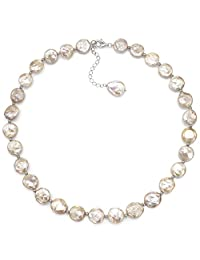 "Sterling Silver 12-12.5mm Pink Coin Shape Freshwater Cultured Pearl Necklace, 18"" + 2"" Extender"