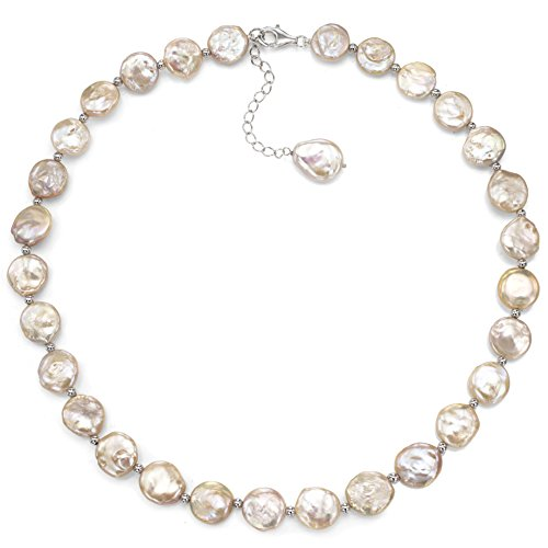 Sterling Silver 12-12.5mm Pink Coin Shape Freshwater Cultured Pearl Necklace, 18″ + 2″ Extender