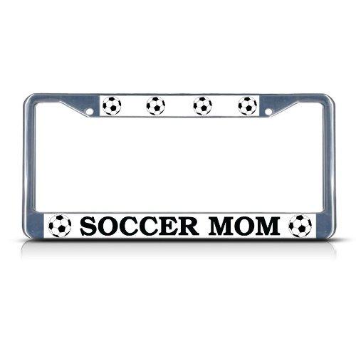 SOCCER MOM Chrome Heavy Duty Metal License Plate Frame